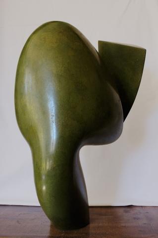 Lyre verte, faïence patinée à la gomme laque, 2016,  h: 54 L: 35 l: 30